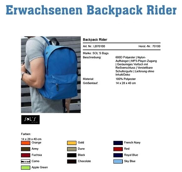 Erwachsenen Backpack Rider Y 101